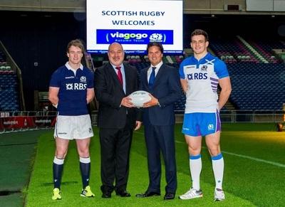 Stuart Hogg, Scottish Rugby's Chief Executive Mark Dodson, viagogo's Oliver Wheeler and Matt Scott unveil Scottish Rugby's partnership with viagogo (PRNewsFoto/viagogo)