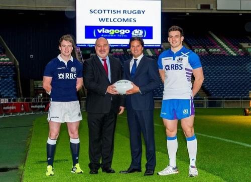 Stuart Hogg, Scottish Rugby's Chief Executive Mark Dodson, viagogo's Oliver Wheeler and Matt Scott unveil ...
