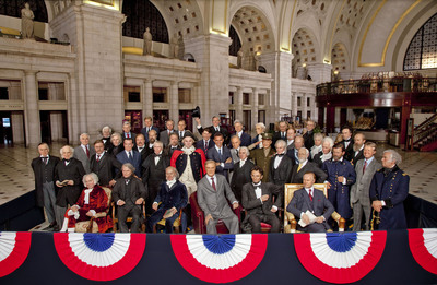 Heralding their arrival in Washington D.C., wax figures of all 44 U.S. Presidents were gathered at Union Station by Madame Tussauds Washington D.C. to celebrate the launch of its U.S. Presidents Gallery - debuting at the attraction on Thursday, February 17, 2011.  With the opening of the $2 million-plus Gallery, Madame Tussauds D.C. will be the only place in the world where people can see and interact with all 44 U.S. Presidents. (Photo Credit: Jim Sulley/Newscast for Madame Tussauds D.C.)  (PRNewsFoto/Madame Tussauds Washington D.C., Jim Sulley)