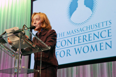 Pulitzer Prize winning author and historian Doris Kearns Goodwin addressing the 10,000 attendees at the Massachusetts Conference for Women, the largest gathering of women in the country. Image by McCardinal Photo.  (PRNewsFoto/Massachusetts Conference for Women)