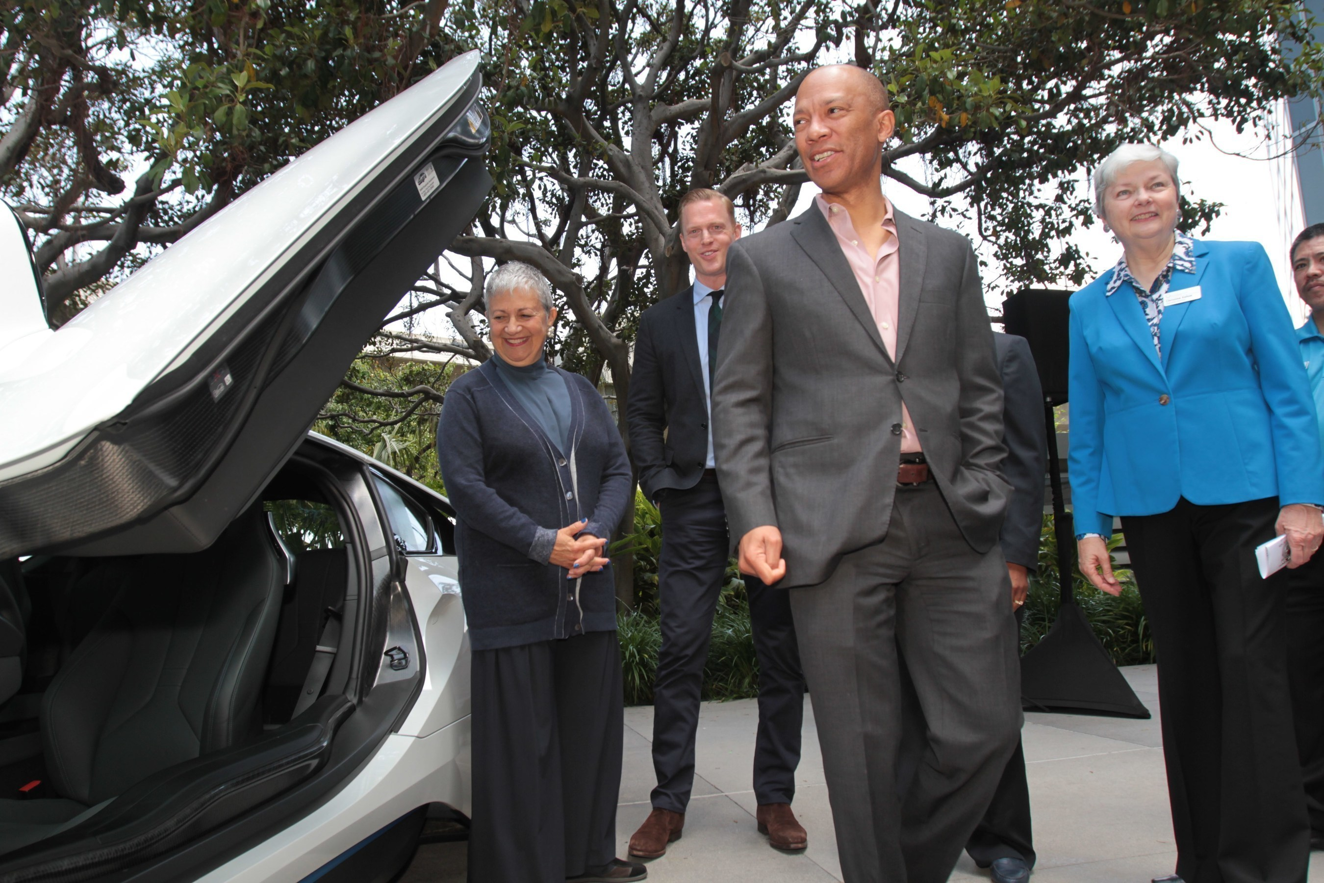 (L to R)  Mary Nichols, Chair of the California Air Resources Board; Frank Breust, Vice President Government Affairs California, BMW; Ken McNeely, AT&T California President; Christine Kehoe, Executive Director of the California Plug-In Electric Vehicle Collaborative.