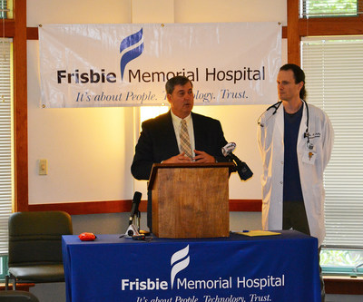 John Marzinzik, President and CEO, Frisbie Memorial Hospital and Mathurin Malby, MD, Director of Emergency Department at Frisbie Memorial Hospital announced in a press conference Monday that it is the first hospital in New Hampshire to provide a standing order to area pharmacies for Naloxone (Narcan) the life-saving opioid antidote for drug overdoses.