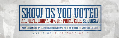 slogan= show us you voted.  (PRNewsFoto/Karmaloop)