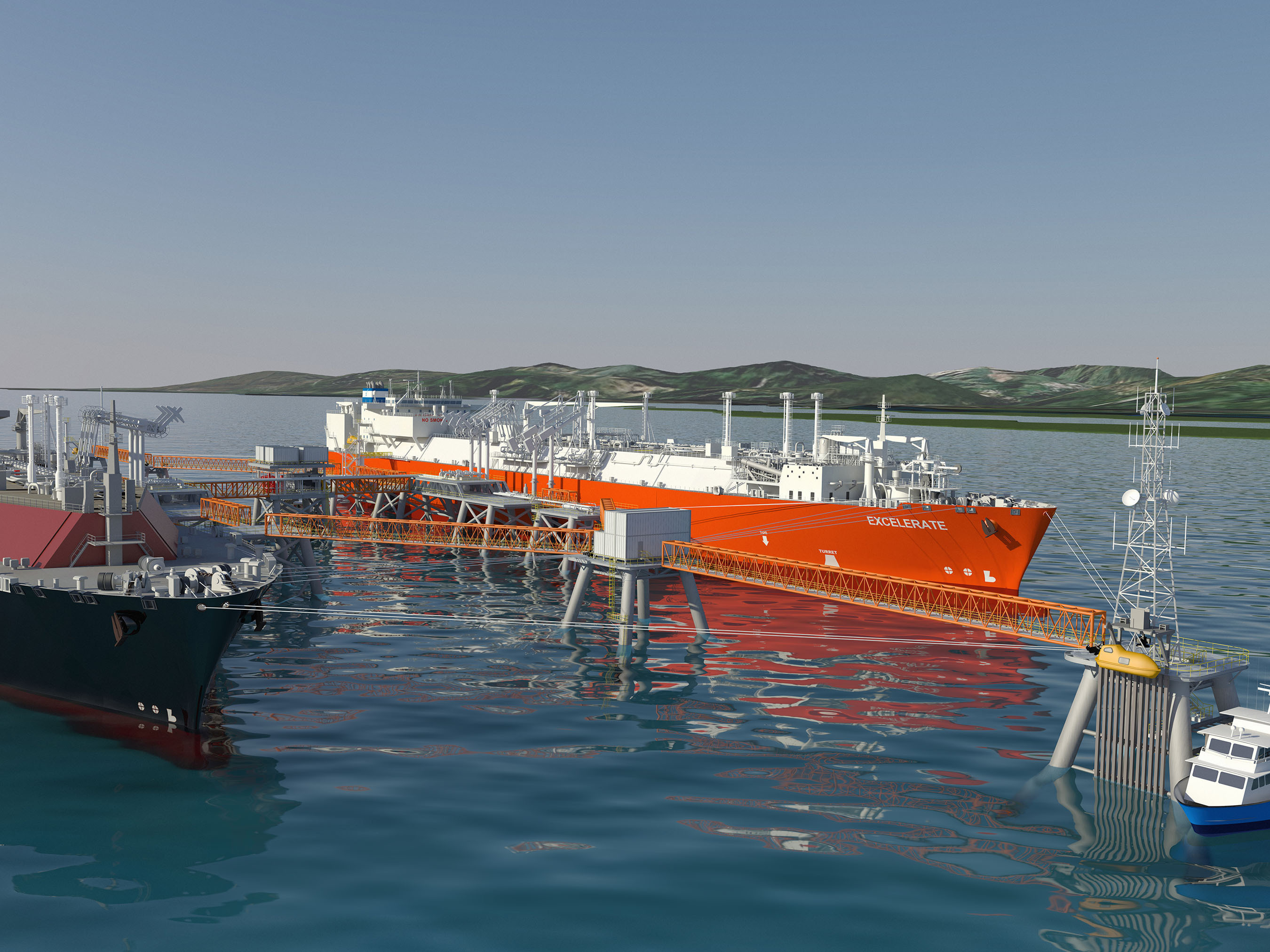 Rendering of the proposed facility, the Aguirre Offshore GasPort. (PRNewsFoto/Excelerate Energy L.P.)