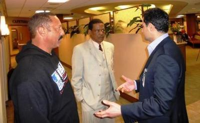 "Former major league players tour local hospital while promoting The 10-20 Club, a nonprofit outreach organization whose mission is to ""help our youth, help themselves."" They provide after school activities, intervention and program services to young people between the ages of 10 and 20 years of age.  Left to right: Ken Landreaux, former member of the Los Angeles Dodgers, Darrell Jackson, former member of the Minnesota Twins and Joe Badalian, President & CEO, Lakewood Regional Medical Center.  (PRNewsFoto/Lakewood Regional Medical Center)"