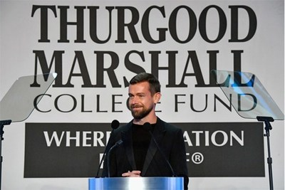 Twitter and Square CEO, Jack Dorsey receiving the Thurgood Marshall College Fund's CEO of the Year at their Annual Awards Gala 11/21/16