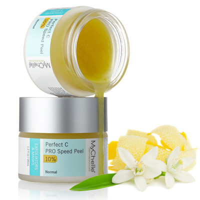MyChelle Perfect C(TM) PRO Speed Peel is the first professional-level, one-step, one-minute, fast-acting Vitamin C peel with 25% juicy Citrus Fruit puree peel. Formulated with 10% L-Ascorbic Acid, L-Lactic Acid, Plant C-Stem(TM), and Retinal to deliver youthful, soft, and glowing skin for all skin types.
