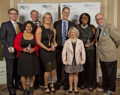 PRSA-LA honored the 2015 Special Olympics World Games Communications and Media Operations Team as PR Team of the Year during the 52nd Annual PRism Awards Show on Nov. 16. The award was presented by actors John C. McGinley and Lauren Potter, both Special Olympics Ambassadors. Pictured here (from left to right): Patrick McClenahan, Yamily Escalante, John C. McGinley, Danielle Yango, Steven Vanderpool, Lauren Potter, Patricia DiLeva and Richard Perelman.