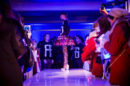 Nokia and LFW Designers Fyodor Golan reveal the world's first interactive skirt (PRNewsFoto/NOKIA)