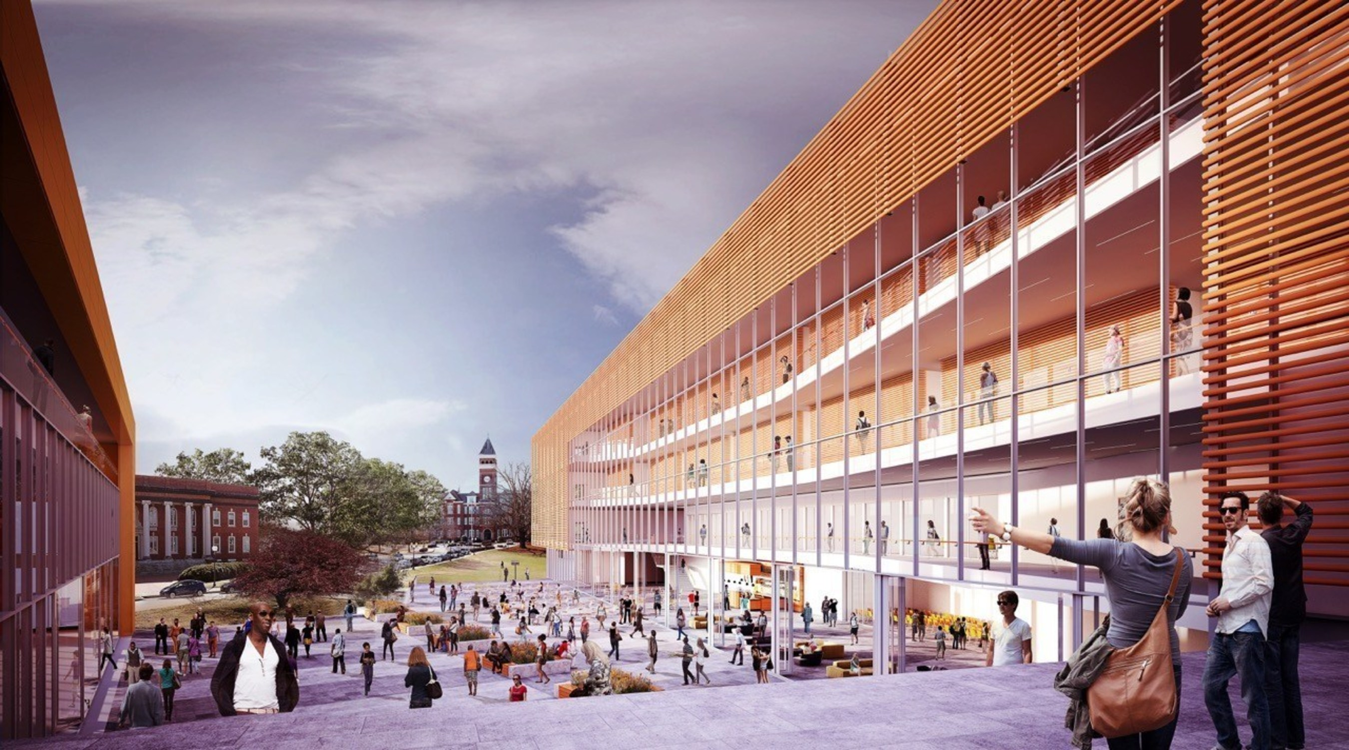 Conceptual rendering of Clemson College of Business. View from the College of Business courtyard towards Tillman Hall and Bowman Field. Image courtesy of LMN Architects.