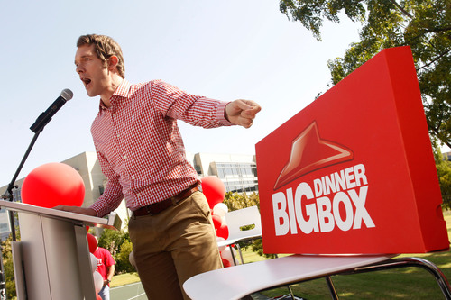 The Pizza Party campaign manager Scott Morehead introduces the candidate for pizza lovers everywhere, The Big Dinner Box, at The Pizza Party rally outside Pizza Hut headquarters on Monday, Oct. 1 in Plano, TX.  (PRNewsFoto/Pizza Hut)