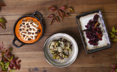 Chef John Sundstrom of Lark Seattle shares three Thanksgiving side dishes all made using a Bernzomatic blowtorch. Dishes pictured (left to right): Roasted Yam Puree, Charred Brussels Sprouts with Bacon and Cheese and Blistered Cranberry Sauce. (Photo credit: Zack Bent)
