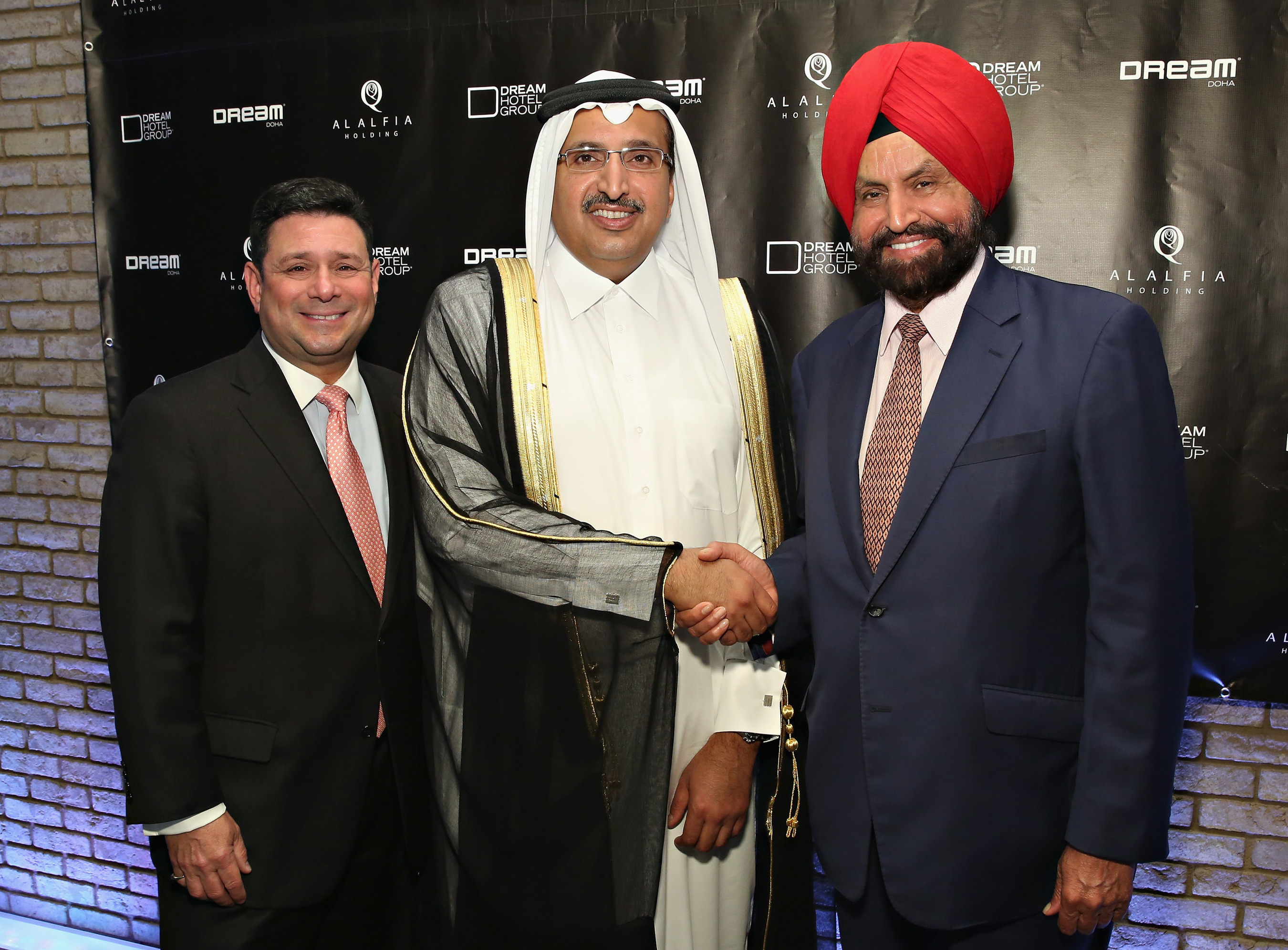 Dream Doha signing ceremony at Dream Downtown New York, L-R: Jay Stein, CEO, Dream Hotel Group; Sheikh Sultan, Al Alfia Holding; Sant Singh Chatwal, Chairman, Dream Hotel Group.
