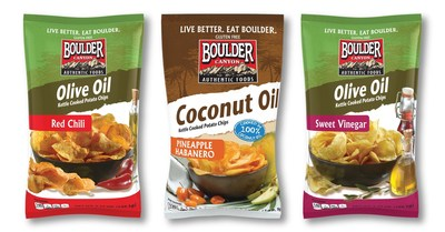Boulder Canyon Authentic Foods(R) introduces Coconut Oil Pineapple Habanero(TM), Olive Oil Sweet Vinegar(TM) and Olive Oil Red Chili(TM) kettle-cooked potato chips, cooked in 100 percent oils and seasoned with clean, simple ingredients. Available at select grocery and natural food stores nationwide this month with a suggested retail price of $3.49 per 5.25 oz. bag. Clean ingredient snacking has never tasted better!