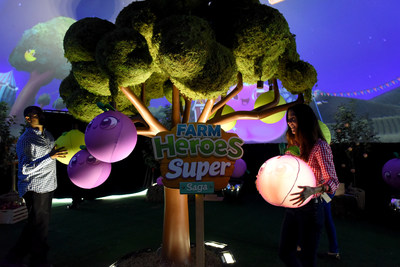King Digital Entertainment celebrates the newly launched Farm Heroes Super Saga with the First Interactive Urban Orchard in the heart of New York's Madison Square Park with an Apple 'Super Cropsie' on Wednesday, Sept. 21, 2016 in New York City.