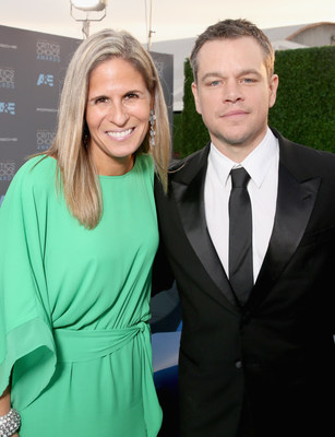 The 2017 Porsche 911 made its red carpet appearance at one of the Hollywood industry's most high-profile events, the 21st Annual Critics' Choice Awards. (Porsche's Cristina Cheever (left) with actor Matt Damon)