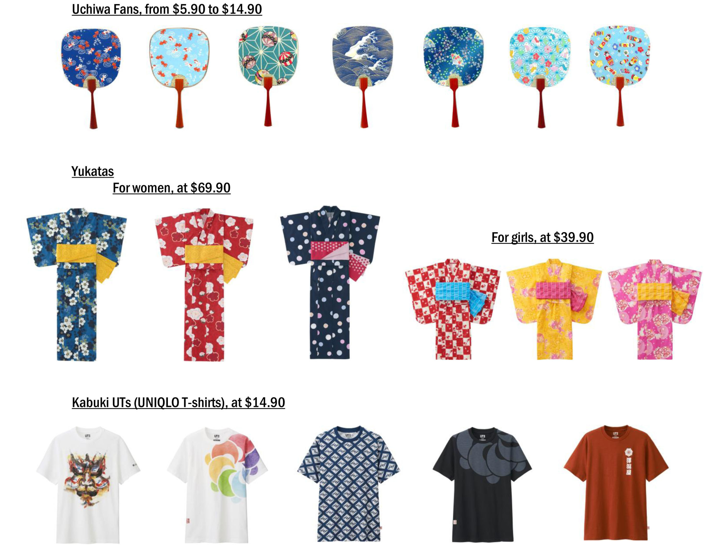 """Exclusive Japanese """"omiyage"""" (souvenir) items are available for purchase, including silk folding fans, uchiwa fans, paper samurai costumes and Buddha boards. Themes from """"Kabuki,"""" a classical performing art in Japan, are featured on UTs, and Yukatas - light cotton kimonos - are available for women and girls."""