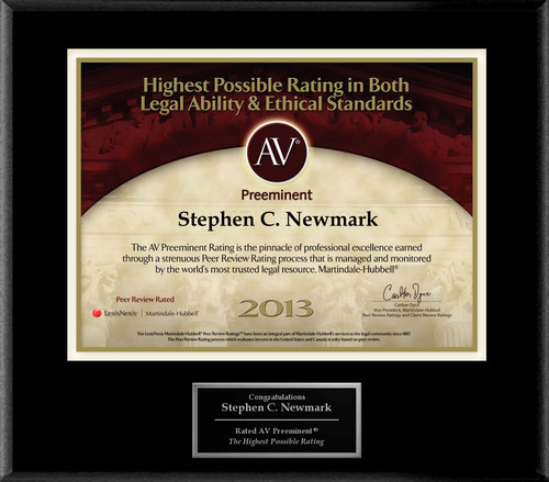 Attorney Stephen C. Newmark has Achieved the AV Preeminent(R) Rating - the Highest Possible Rating from Martindale-Hubbell(R).  (PRNewsFoto/American Registry)