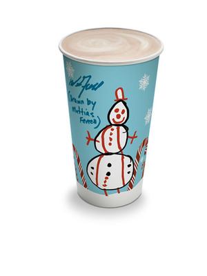 Comic actor Will Ferrell and son design holiday hot-beverage cup for 7-Eleven to raise awareness of Cancer for College charity.  (PRNewsFoto/7-Eleven, Inc.)