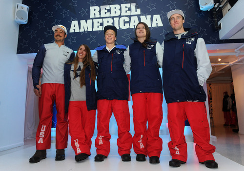 U.S. Freeskiing hopefuls John Teller, Maddie Bowman, Aaron Blunck, Devin Logan and Tom Wallisch, left to right, unveil the official 2014 U.S. Freeskiing Competition Uniforms, Monday, Oct. 28, 2013, in New York, which will be worn by the United States freeskiing athletes when the sport makes its historic debut in Sochi.  (Photo by Diane Bondareff/Invision for The North Face).  (PRNewsFoto/The North Face)