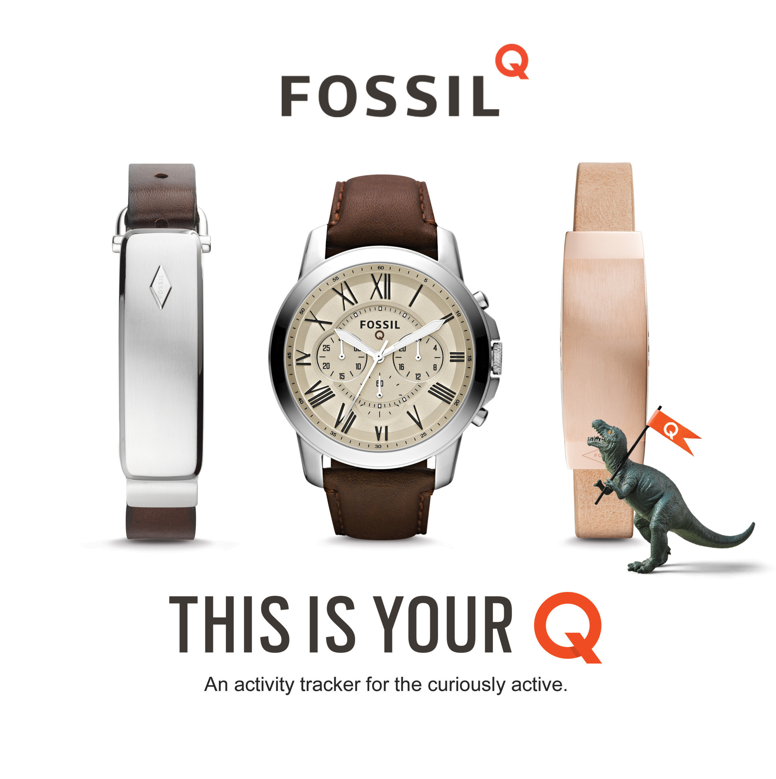 Introducing: Fossil Q. The connected accessory that fits your style, tracks your steps, and keeps you curious. With two types of connected watches (both display and non-display) and two styles of connected bracelets (one for men and one for women), there's something for everyone. Fashion meets function in stores October 25.