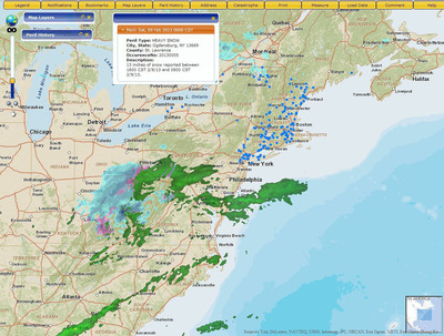 PLRB Map displays real-time severe occurrence data and information.  (PRNewsFoto/Esri)