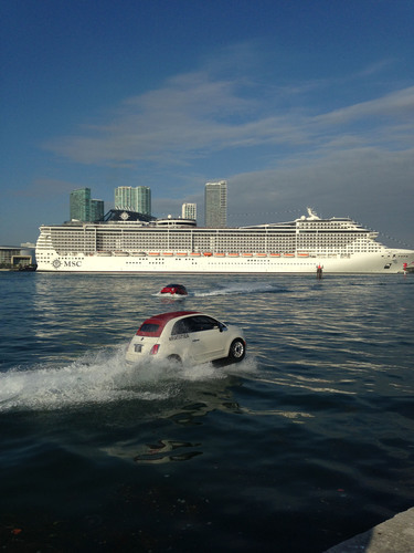 MSC Divina Debuts in PortMiami This Morning Escorted by Fleet of Stylish FIAT Watercraft.  For more ...