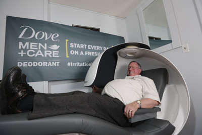 "Tuesday, March 4, 2014: Just in time for national ""Napping Day"" (March 10), senior lecturer Mike Fox of Buffalo State University's International Center for Studies in Creativity, is awarded a custom luxury nap pod as the winner of the Dove Men+Care #IrritationFreeMondays national contest. Teaching the importance of sleep for the creative process, Fox and colleagues find themselves ironically tired as they teach both day and night courses. Dove Men+Care Antiperspirant Deodorant, with its clinically proven non-irritating formula and 48-hour odor and wetness protection, wants to help men overcome irritation in other areas of their lives, especially on Mondays – arguably the most irritating day."