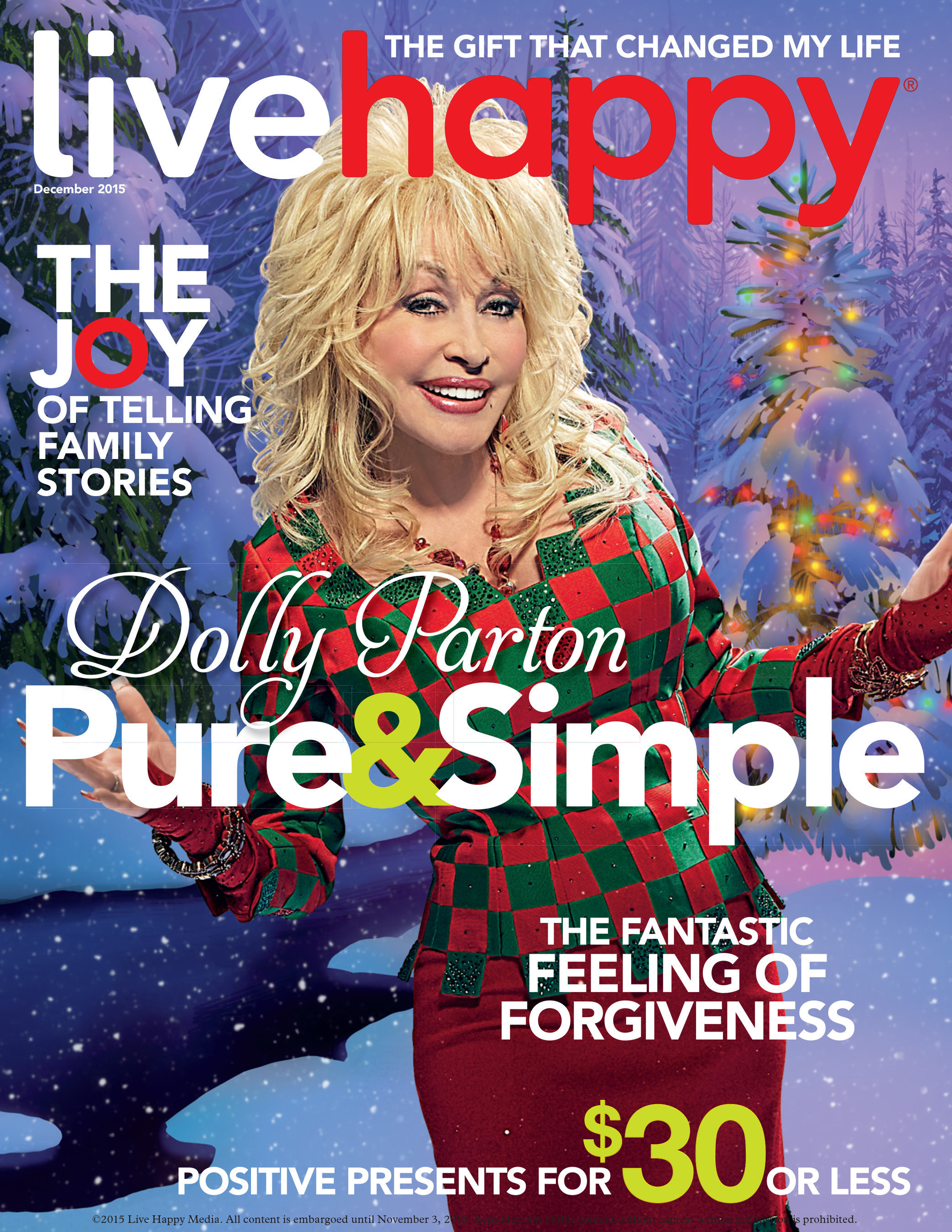 Live Happy Magazine Features Dolly Parton on Cover of November/December Issue