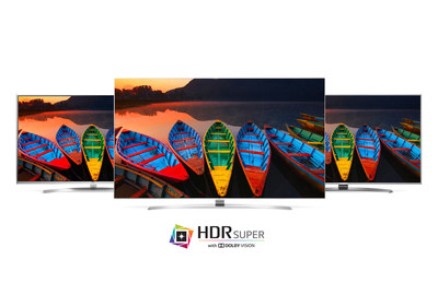 """The 2016 LG SUPER UHD lineup comprises three series (UH9500, UH8500, UH7700) with nine models in 55- to 86-inch class screen sizes. The entire LG SUPER UHD lineup boasts LG's advanced IPS 4K Quantum display technologies, which enhance color reproduction. LG Color Prime Plus creates vivid images with greater depth and realism by magnifying the range of colors displayed, and its """"Billion Rich Colors"""" feature uses 10-bit processing power to render more than one billion possible colors for impressive realism."""