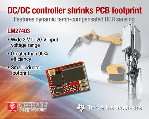 20-V LM27403 DC/DC synchronous buck controller from Texas Instruments provides greater than 95-percent efficiency from a 12-V input at 25 A of output current to optimize solution size and deliver fast transient response in communications infrastructure, industrial, medical and power module applications.  (PRNewsFoto/Texas Instruments)