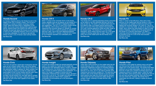 The Honda model information on the Matt Castrucci Honda allows consumers to research the latest Honda models. (PRNewsFoto/Matt Castrucci Honda)