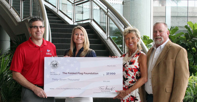 "(l to r), John Coogan, Executive Director, The Folded Flag Foundation and Christine Husted, General Manager, The Folded Flag Foundation, accept a donation from Cathy Kennedy, Vice President of Corporate Administration, Fidelity National Financial and Tom Kennedy, Vice President, Florida Tackle & Gun Club. The April 16 ""I Carry the Flag"" charity motorcycle ride hosted by The Florida Tackle & Gun Club raised $37,000 for The Folded Flag Foundation."