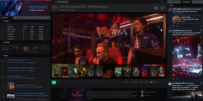"""Screenshot of the Overcharge.tv application user interface. Breakout team 'Digital Chaos' vie for their share of the $20,000,000 prize pool at Valve's annual """"The International 6"""" Dota 2 tournament. Exceeding all expectations, the American-European hybrid team finishes 2nd place, taking home US$3.5 million dollars."""