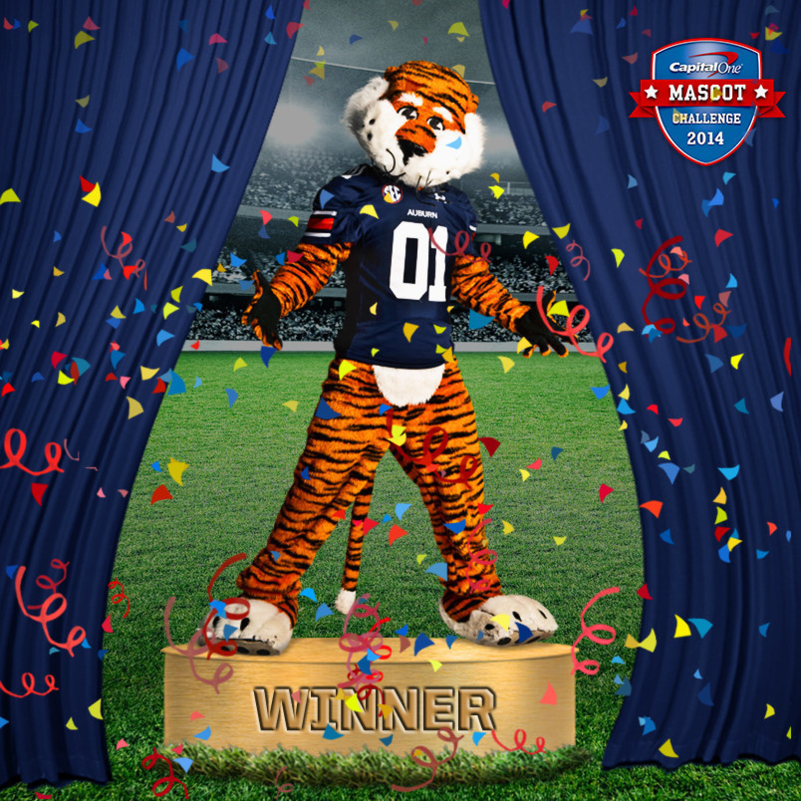 Auburn's Aubie the Tiger earned his champion stripes by clawing his way past UCLA's Joe Bruin in the 2014 Capital One Mascot Challenge finale. As the newly crowned Capital One National Mascot of the Year(R), Aubie will receive $20,000 toward Auburn's mascot program and legendary status as one of the rare mascots to finish the competition with a perfect 15-0 record.
