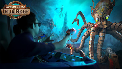 Now open, Voyage to the Iron Reef is a spectacular new interactive 4-D ride for the entire family.  Riders aim their freeze rays at the Kraken Queen's army of menacing sea creatures and compete against each other to blast the highest score and save Knott's from a watery doom. #KnottsIronReef