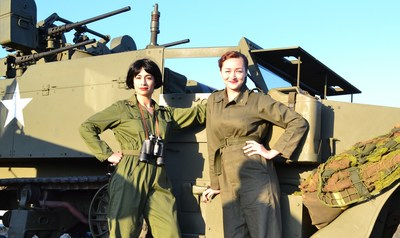 """Govindini Murty (""""Captain Diana Ravello"""") and Rachel Newell (""""Lt. Margie Petrova"""") as Women's Army Corps officers in the epic WWII sci-fi short film UFO Diary.  UFO Diary is the first sci-fi film made about the Great LA Air Raid of 1942.  UFO Diary features VFX by ILM and Weta Digital artists and premieres online February 22, 2016 on Vimeo."""
