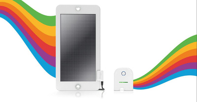 The Changers Starter Kit includes a portable PV solar panel and a portable solar battery that accurately measures how much energy it captures and stores.  (PRNewsFoto/Changers)