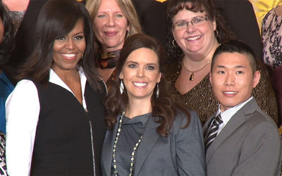 First Lady Michelle Obama honored Katherine Pastor (center) with the 2016 School Counselor of the Year award at the White House in January. Katherine will help Vireo Labs bring C'reer, a free mobile career and college matchmaking app, to school counselors nationwide. (Photo by Wafa Shahid/Cronkite News)