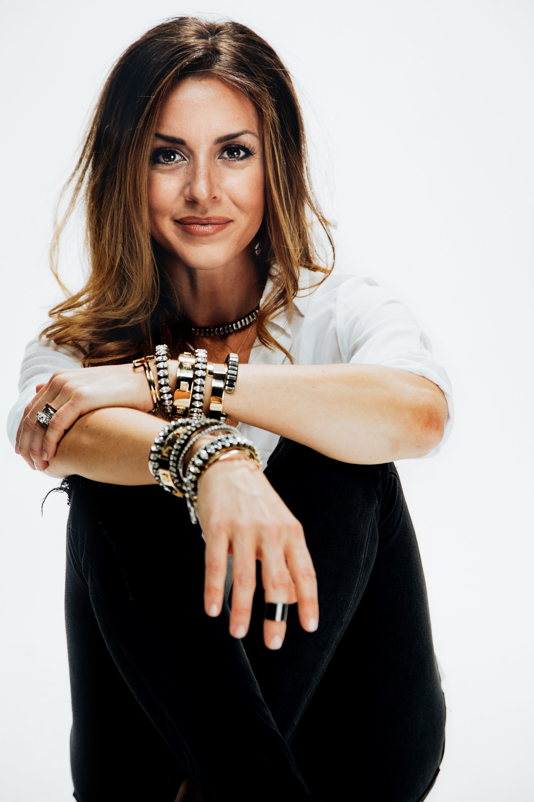 Shelly Brown wearing pieces from her fall 2015 jewelry collection.