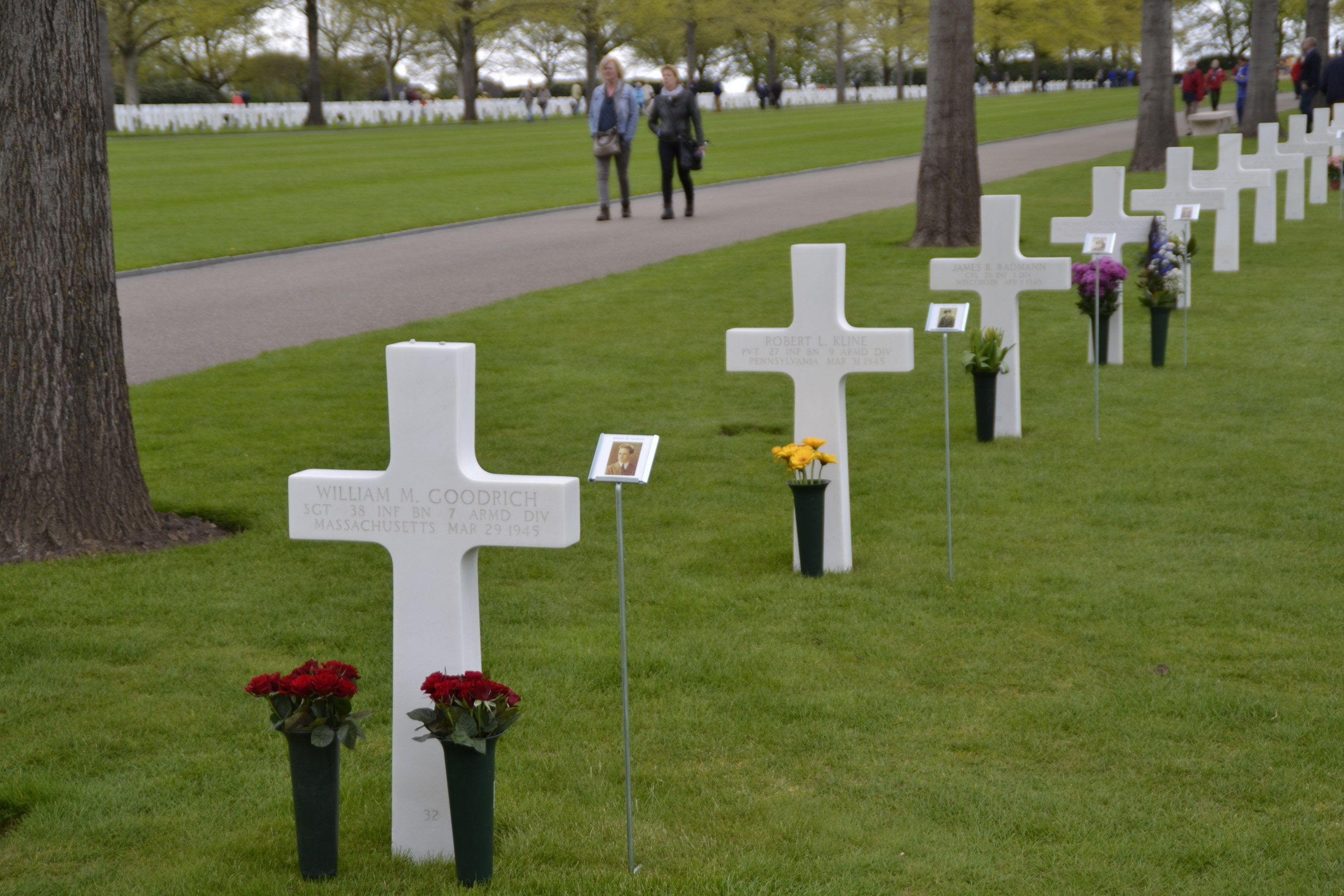 Personal photos of the soldiers were placed next to the headstones during the Faces of Margraten at Netherlands American Cemetery in 2015.