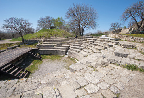 From Canakkale, Turkey, travelers can visit the UNESCO World Heritage Site of Troy--pictured here: the ruins of Troy's Roman Theatre.  (PRNewsFoto/Crystal Cruises)