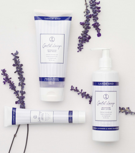 Lands' End unveils its new Coastal Living Body Care Collection, marking its entry into the body care category. The Coastal Living Collection, consisting of fresh lavender and honey blossom scented body lotion, hand cream and body wash, is now available at landsend.com. (PRNewsFoto/Lands' End) (PRNewsFoto/LANDS' END)