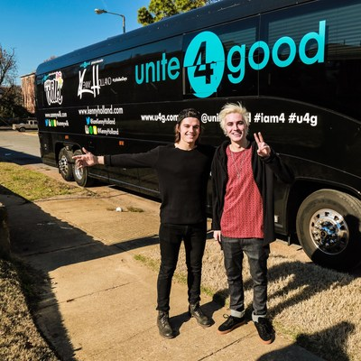 unite4:good's Global Youth Ambassadors Kenny Holland And Sammy Wilk Take Off On The Giving4:Good Bus Tour