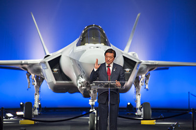 Kenji Wakamiya, Japan's State Minister of Defense, addresses the ceremony audience as Japan's first F-35A aircraft is revealed at the Lockheed Martin's production facility in Fort Worth, Texas, Sept. 23. Lockheed Martin photo by Beth Steel