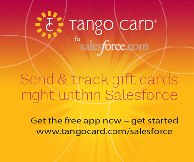 Tango Card for Salesforce is a new application available on the Salesforce AppExchange that allows customers to give, track, and manage gift cards from right within Salesforce. Learn more at www.tangocard.com/salesforce.  (PRNewsFoto/Tango Card)