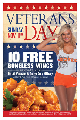 "Hooters Salutes Military on Veterans Day with Wing Promotion and ""Operation Calendar Drop"".  (PRNewsFoto/Hooters of America, LLC)"