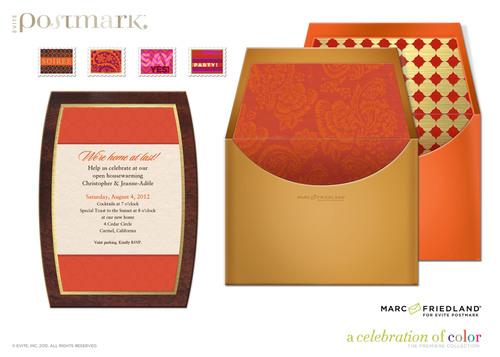 """Coulda Shoulda Woulda"" invitation from the A Celebration of Color(TM) Collection, designed by Marc Friedland, on Evite Postmark (www.postmark.com).  (PRNewsFoto/Evite Postmark)"