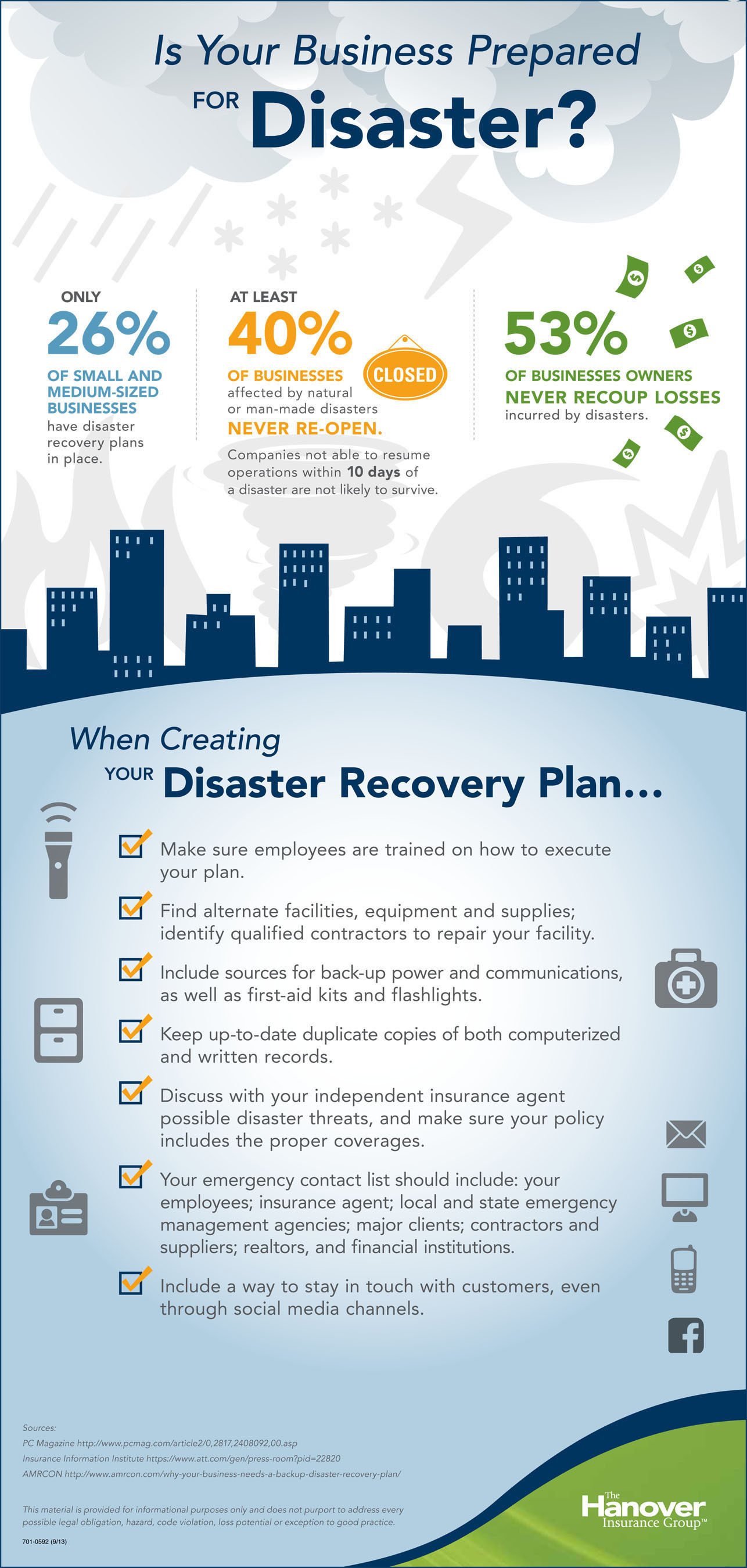 The Hanover Offers Tips for Protecting Your Business from Disaster.  (PRNewsFoto/The Hanover Insurance Group, ...