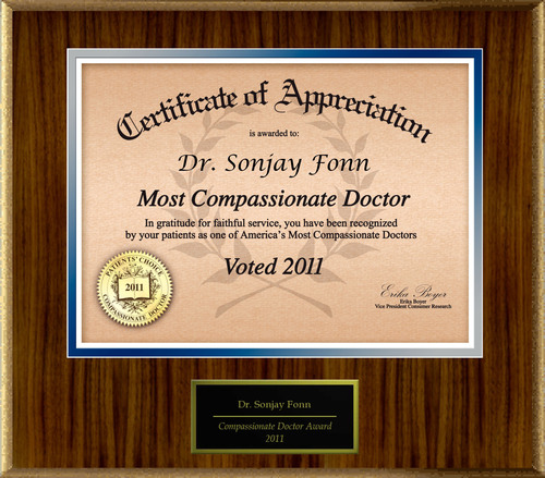 Patients Honor Dr. Sonjay Fonn for Compassion.  (PRNewsFoto/American Registry)